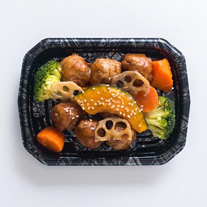 肉団子と根菜の黒酢あんかけ
